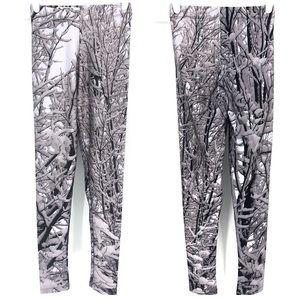 GOLDSHEEP SNOW COVERED TREE WINTER PRINT LEGGINGS